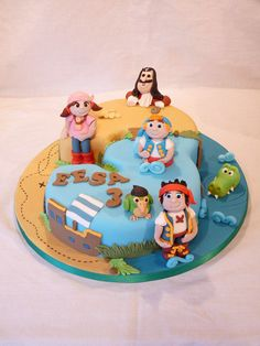 NUMBER THREE SHAPED JAKE AND THE NEVERLAND PIRATES CAKE