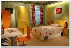 I like the bed back board and the lion king dresser and side table!!