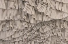 Ruffled fabric sample with narrow pleats for added texture; sewing ideas; fabric manipulation