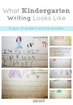 What kindergarten writing looks like - a year of student samples and ways to support your child from Amanda at The Educators' Spin On It