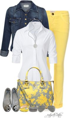 Pop of Yellow, denim jacket and a crisp white shirt...Love the #ToryBurch flats and handbag with this look, and the #Coach wrap bracelet is a nice touch.