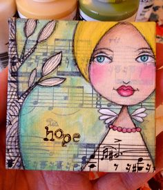 """hope"" mixed media ornament by Paulette Insall, via Flickr"