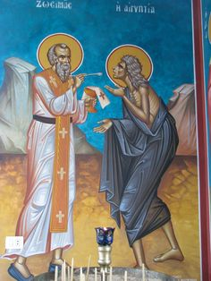 On the Fifth Sunday of Lent the Orthodox Church commemorates our Righteous Mother Mary of Egypt. The feast day of Saint Mar. Religious Images, Religious Icons, St Mary Of Egypt, St Maria, St Lawrence, Byzantine Icons, Orthodox Christianity, Catholic Saints, Orthodox Icons