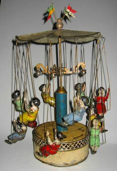 """1890 Bing """"Ketten Karussell"""" or """"Chain Carousel"""". Vintage Tins, Vintage Dolls, Vintage Antiques, Vintage Games, Metal Toys, Tin Toys, Wooden Toys, Victorian Toys, Toys In The Attic"""