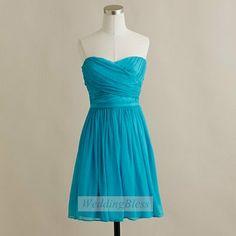 Teal Bridesmaid Dress Chiffon Homecoming Dress