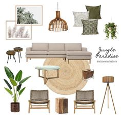 View this Interior Design Mood Board and more designs by Aimee & Co. Interior Styling on Style Sourcebook Boho Living Room, Living Room Interior, Jungle Living Room Decor, Living Room Inspiration, Home Decor Inspiration, Tropical Interior, Interior Styling, Interior Design Mood Boards, Interior Design Color Schemes