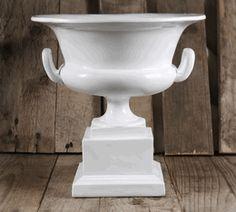 White Pedestal Urn 10.5in x 10.5in