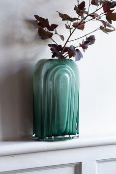 Lifestyle image of the Sea Green Glass Art Nouveau Vase Vases, Vase Centerpieces, Green Palette, Blue Colour Palette, Hanging Planters, Planter Pots, Art Nouveau, Sea Green Color, Rockett St George