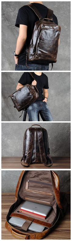 WAXED LEATHER BACKPACK - FULL GRAIN LEATHER BACKPACK, HANDMADE LAPTOP BACKPACK. LARGE SIZE.