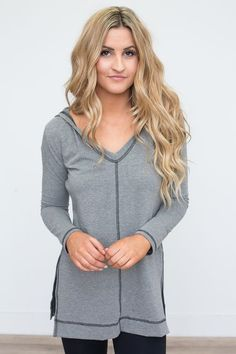 Shop our Contrast Stitch Hooded Tunic in Grey. Free shipping on all US orders!