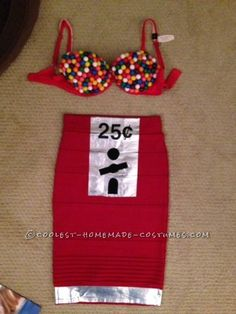 Sexy Homemade Gumball Machine Costume- I would modify as a corset or tank top instead of a bra.
