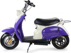 Big Toys USA MT-EM_Purple MotoTec 24v Electric Moped Purple. The MotoTec 24v Electric Moped is the ultimate kids ride! Great for driveway and parking lot fun, cruise around cones and speed through trails with ease. Comes standard with front & rear disc brakes and large 11 inch pneumatic street tires. This moped provides longer ride times than the competition with TWO large 12v 12ah batteries. Under seat storage, rear luggage rack, key start, battery meter, horn and front headlight!   SAFETY…