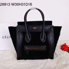 Сумка Celine Luggage черная из натуральной замши с отделкой натуральной черной кожей