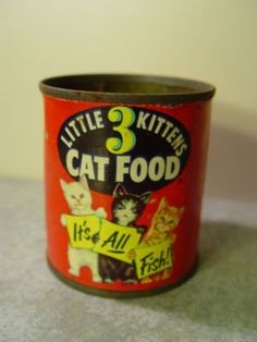 Unusual Cat Food Tin 3 Little Kittens All Fish Vintage Tin American Crab Meat Co (11/03/2011)