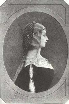 Lucrezia Borgia, Duchess of Ferrara | Engraving, probably a copy of a lost orginal or artist rendition of the known, contemporary portrait medals.