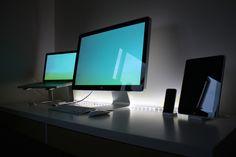 Apple setup: MacBook pro, iPhone, iPad, and iMac.