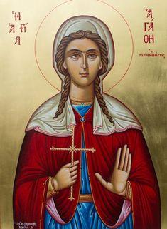 Saint Agatha - Last Words of Seven Saint Martyrs, Past and Present Roman Church, Byzantine Icons, Orthodox Christianity, Orthodox Icons, Powerful Quotes, Christian Art, Kirchen, Catholic, Saints