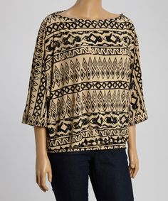Look what I found on #zulily! Natural Tribal Dolman Top - Plus #zulilyfinds