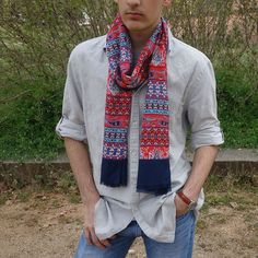 Fular hombre rojo marino moda sostenible Look by LyLy Plaid Scarf, Fashion, Sustainable Fashion, Scarves, Red, Hand Made, Men, Sailor, Moda
