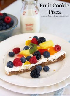 Fruit Cookie Pizza is perfect to take to any get together! by www.cookingwithruthie.com #recipes #dessert