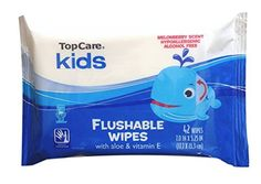 TopCare Kids - Flushable Wipes With Aloe and Vitamin E - Melonberry Scent - 42 Count - Pack of 3