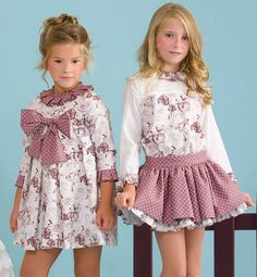 Vestido y conjunto falda rosa antiguo de Copo