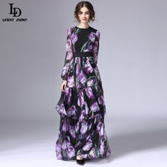 1f10b4a89e4 Runway Maxi Dress Women s Long Sleeve Vintage Tiered Tulip Floral Printed Long  Dress What a beautiful image Visit our store