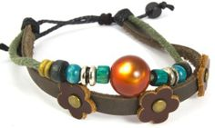 Beaded Two Strand Zen Leather Bracelet with a Orange Cats Eye Bead At Center, Three Red Leather Flowers on Dark Brown Leather, Colorful Wooden Beads, and Chrome Colored Spacers on Green Hemp. (Foil Gift Box Included) . $18.95. Great Looking Bracelet Is Fully Adjustable. Fits wrists 4 1/2 to 9 inch. Embellished with a Orange Cats Eye Bead at Center, Three Red Leather Flowers on Dark Brown Leather, Colorful Wooden Beads, and Chrome Colored Spacers on Green Hemp.. F...