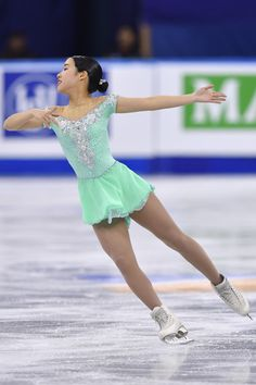 Mai Mihara of Japan competes in the Ladies Free Skating during ISU Four Continents Figure Skating Championships - Gangneung -Test Event For PyeongChang 2018 at Gangneung Ice Arena on February Get premium, high resolution news photos at Getty Images Figure Skating Outfits, Figure Skating Costumes, Figure Skating Dresses, Dance Costumes Lyrical, Dance Leotards, Gymnastics Leotards, Skater Girls, Costume Dress, Body