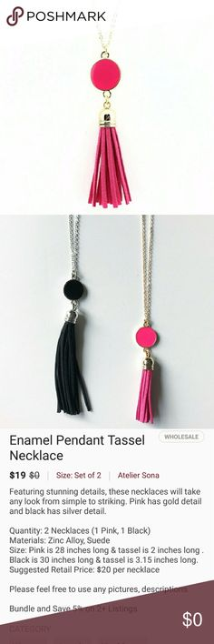 Pink Enamel Pendant Tassel Necklace Pink Enamel Pendant Tassel Necklace with gold detail.   Materials: Zinc alloy & suede Size: 28 inches long and tassel is 2 inches long Atelier Sona Jewelry Necklaces