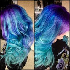 Purple royal blue ombre dyed hair