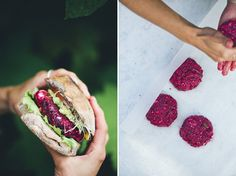 Beet burgers, Scott approved. Make mix early on to get moisture right. More salt/pepper, used blue but try with feta.