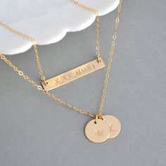 Layering Necklace, Nameplate Bar and Two Disc Necklace, Sterling Silver, 14k Gola or Rose Gold, Custom Engraved Necklace