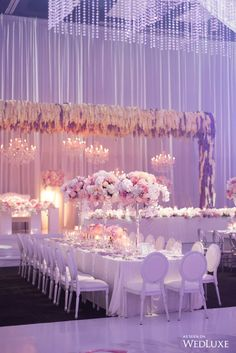 Cheers to the weekend! (and this sparkling lilac reception from . : of planner: decor, ceiling draping, canopies, chandeliers & floral: wall draping: linens & napkins: chairs: lighting & rigging: Sweet 16 Party Decorations, Quince Decorations, Quinceanera Decorations, Wedding Reception Decorations, Wedding Centerpieces, Wedding Table, Wedding Day, Candy Centerpieces, Diy Wedding