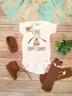 One Happy Camper Onesie® First Birthday Outfit First Birthday Outfit Boy Camping Birthday S'more Boho Baby Clothes Cute Baby Clothes Source by cassiehelena cute First Birthday Outfits Boy, Baby Boy First Birthday, First Birthday Shirts, Boy Birthday Parties, Birthday Ideas, Birthday Photos, Birthday Gifts, Happy Campers, Boho Baby Clothes