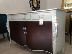 Modern commode. Brown and silver finishing