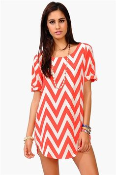 Necessary Clothing Cory Chevron Dress - Coral   Would be really cute with leggings and flats :)
