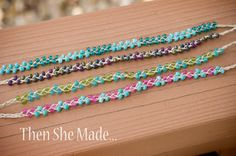 braided bracelets, hemp and beeds. Then she made...