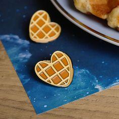 Waffle Heart Enamel Pins For Valentine's Day - Jessica Scissorhands