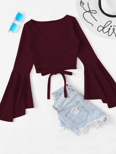 Casual Plain Regular Fit V Neck Long Sleeve Burgundy Regular Length Tie Hem Flounce Sleeve Top - May 18 2019 at Teenage Outfits, Teen Fashion Outfits, Look Fashion, Outfits For Teens, Girl Fashion, Girl Outfits, Summer Outfits, Fashion Wear, Fashion Styles