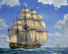 During the the colonies bustled with cargo to trade and sell. Jamestown was one of the stops the merchant ships made on their tr. Royal Navy Frigates, Old Sailing Ships, Sailing Boat, Sea Pictures, Ship Drawing, Man Of War, Ship Paintings, Nautical Art, Nautical Painting