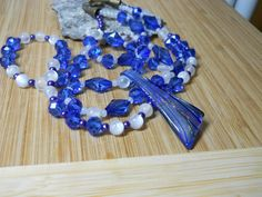 Beaded necklace blue white beads Handmade jewelry, brass elements glass Jewellery handmade, gift for her Sanibel Island, brass rose clasp