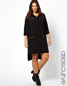 ASOS CURVE Exclusive Shirt Dress With Zip Detail