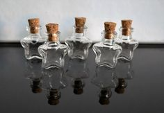 5 small glass vial star shaped bottles cork miniature craft jewellery doll house