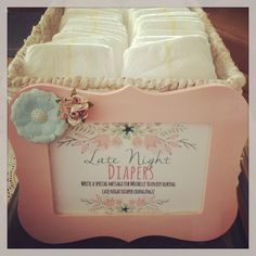 Vintage Tea Party Baby Shower - Late Night Diapers with funny messages for mom & dad to read