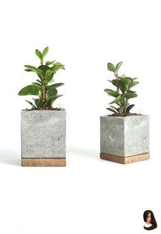 Cement planter with wood base square concrete pot geometrically modern handmade planters Cement Art, Concrete Crafts, Wooden Crafts, Do It Yourself Decoration, Diy Concrete Planters, Modern Planters, Succulent Planters, Succulents Garden, Beton Design