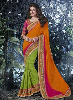 Decent Green And Orange Georgette Designer Saree, Product Code :12707, shop now http://www.sareesaga.com/decent-green-and-orange-georgette-designer-saree-12707  Email :support@sareesaga.com What's App or Call : +91-9825192886