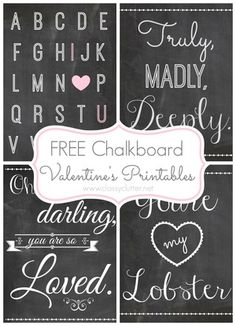 Free-Chalkboard-Valentines-Printables.DIY Scrapbook Page Embellishments Using Art Printables  By Rebecca Ludens..Chalkboard style graphics are popular not only in scrapbooking but also in card making, general paper crafting, and even home decorating. ...Free Chalkboard Printables for Christmas Scrapbooking and Decorating.This collection is a variety of love themed, Valentine's Day chalkboard printables from blogs all over the internet.