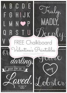 Free-Chalkboard-Valentines-Printables.DIY Scrapbook Page Embellishments Using…