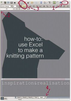 DIY - how to make a knitting pattern using Excel - for machine knitting really but the tips about changing the cell size might be useful for intarsia type designs Knitting Help, Knitting Charts, Loom Knitting, Knitting Stitches, Knitting Designs, Knitting Projects, Hand Knitting, Finger Knitting, Knitting Tutorials